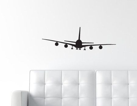 Airplane Wall Decal - Jumbo Jet Wall Decal - Matte Removable - Plane Vinyl Wall Decal - Medium