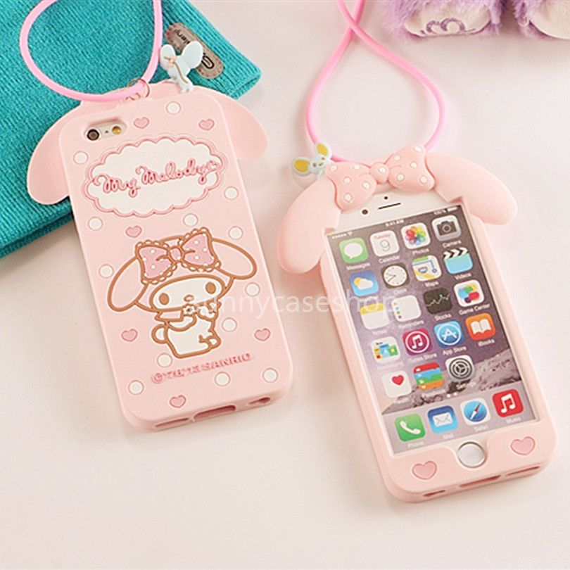 ab196e1c3f5ce2 Cute Pink Melody Rabbit Silicone Case cover for Apple iphone 6 plus 5S + Lanyard #Romrichcaseshop