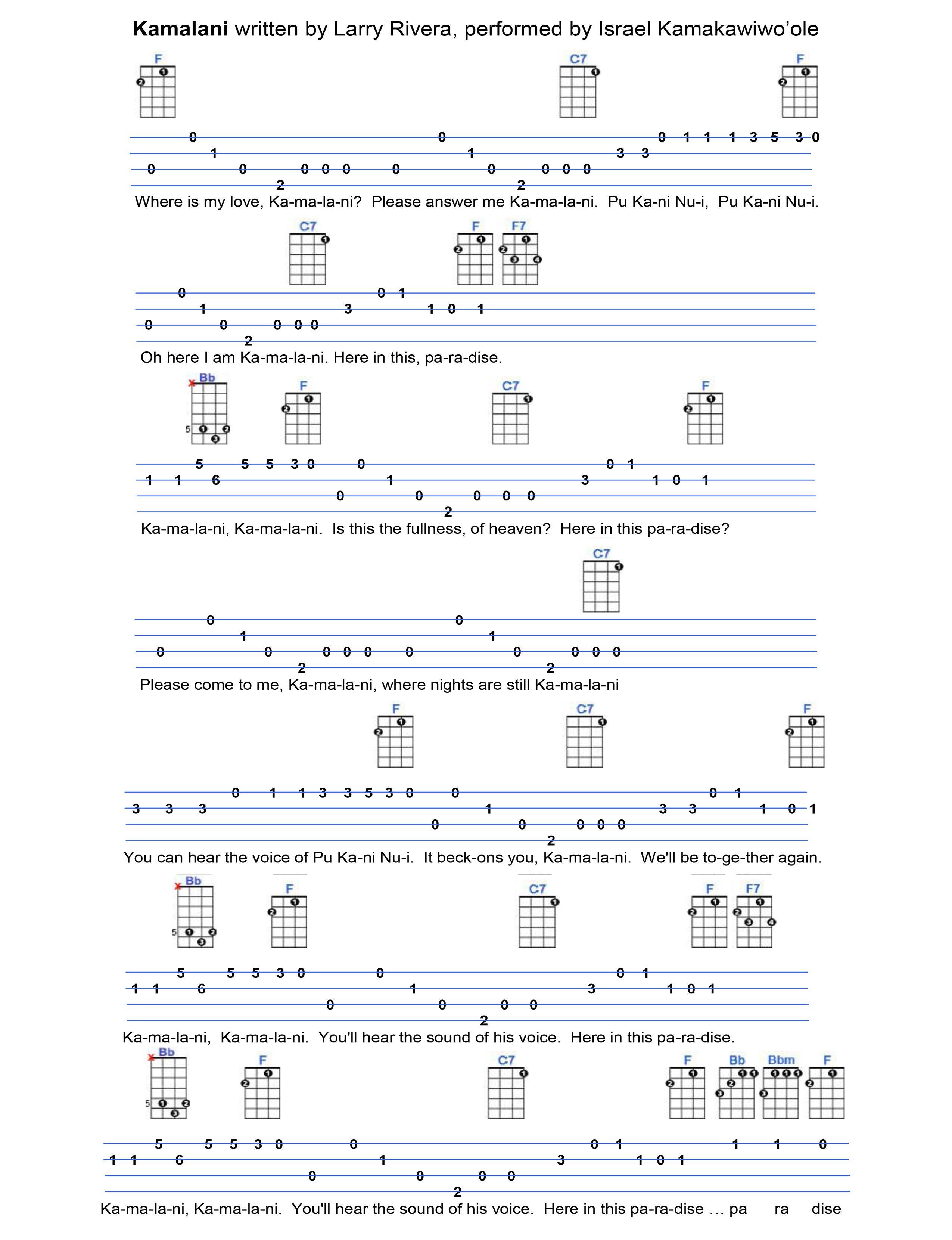 Kamalani ukulele tabs pinterest ukulele tabs musical kamalani ukulele tabsukulele chordsmusical hexwebz Images