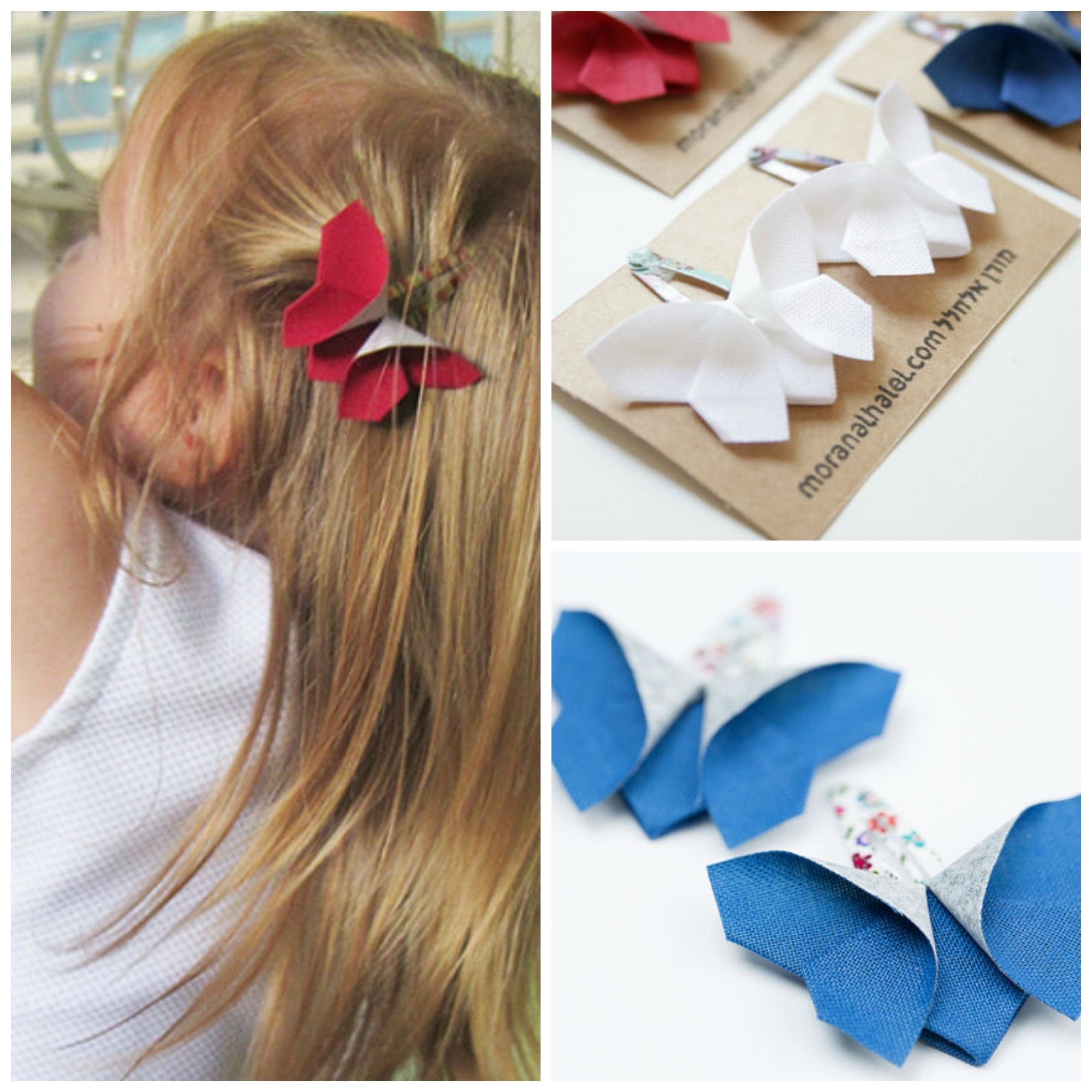 Girls White Love Hearts Hair Bow Clips Handmade Sold In Pairs