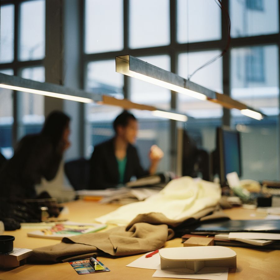 steellamp   steel and leather lamp   by Vida Stockholm
