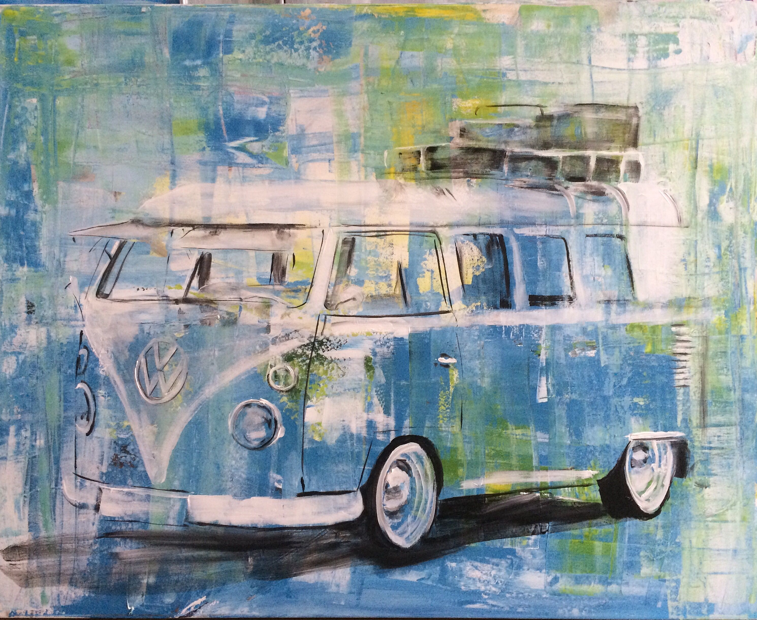 vw t1 gemalt art kunst bulli vw bus art kunst. Black Bedroom Furniture Sets. Home Design Ideas