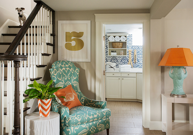 Prime Aqua Blue And Orange Contemporary Foyer Features An Aqua Creativecarmelina Interior Chair Design Creativecarmelinacom