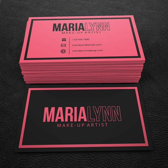 Premade business card design print ready printable business pink and black makeup artist premade business card by brandi lea designs on etsy reheart Images