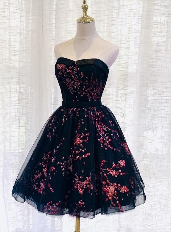 Lovely Black Sweetheart Short Homecoming Dress, Black Prom Dress