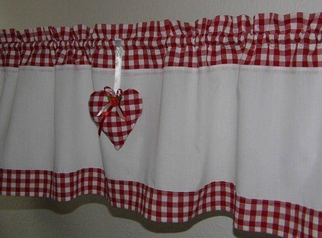 gardinen landhausgardine mit herz karo rot weiss ein designerst ck von landhausbasar bei