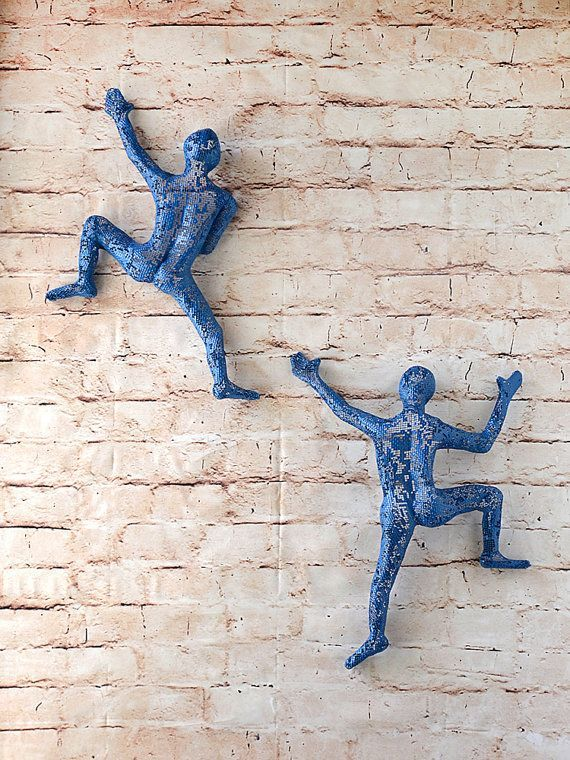 Photo of SET with 2 climbing figures wall decor wall hanging metal by nunt …