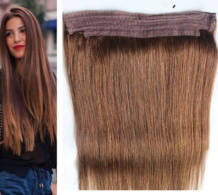 Durable Remy Human Hair Weave Color 4 Chocolate Flip In Halo Hair