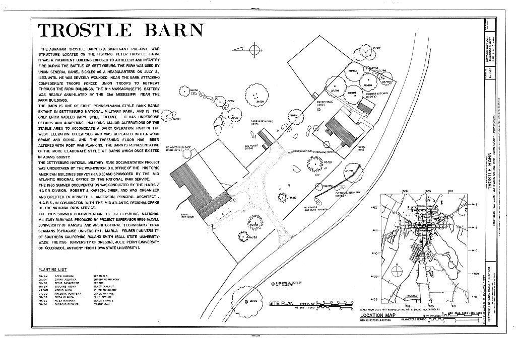 Trostle Barn, Emmitsburg Road (U.S. 15), Gettysburg, Adams County, PA | Library of Congress