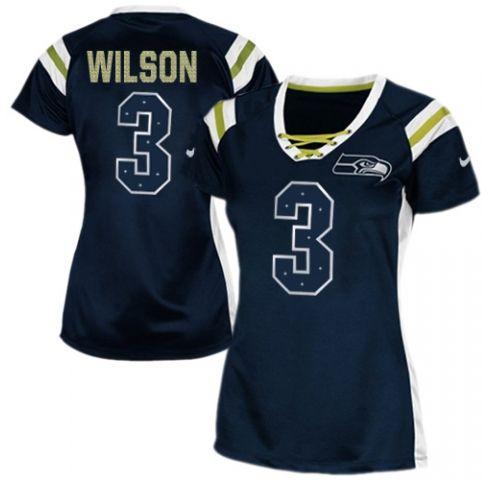 Discount Women's Nike Seattle Seahawks #3 Russell Wilson Elite Steel Blue