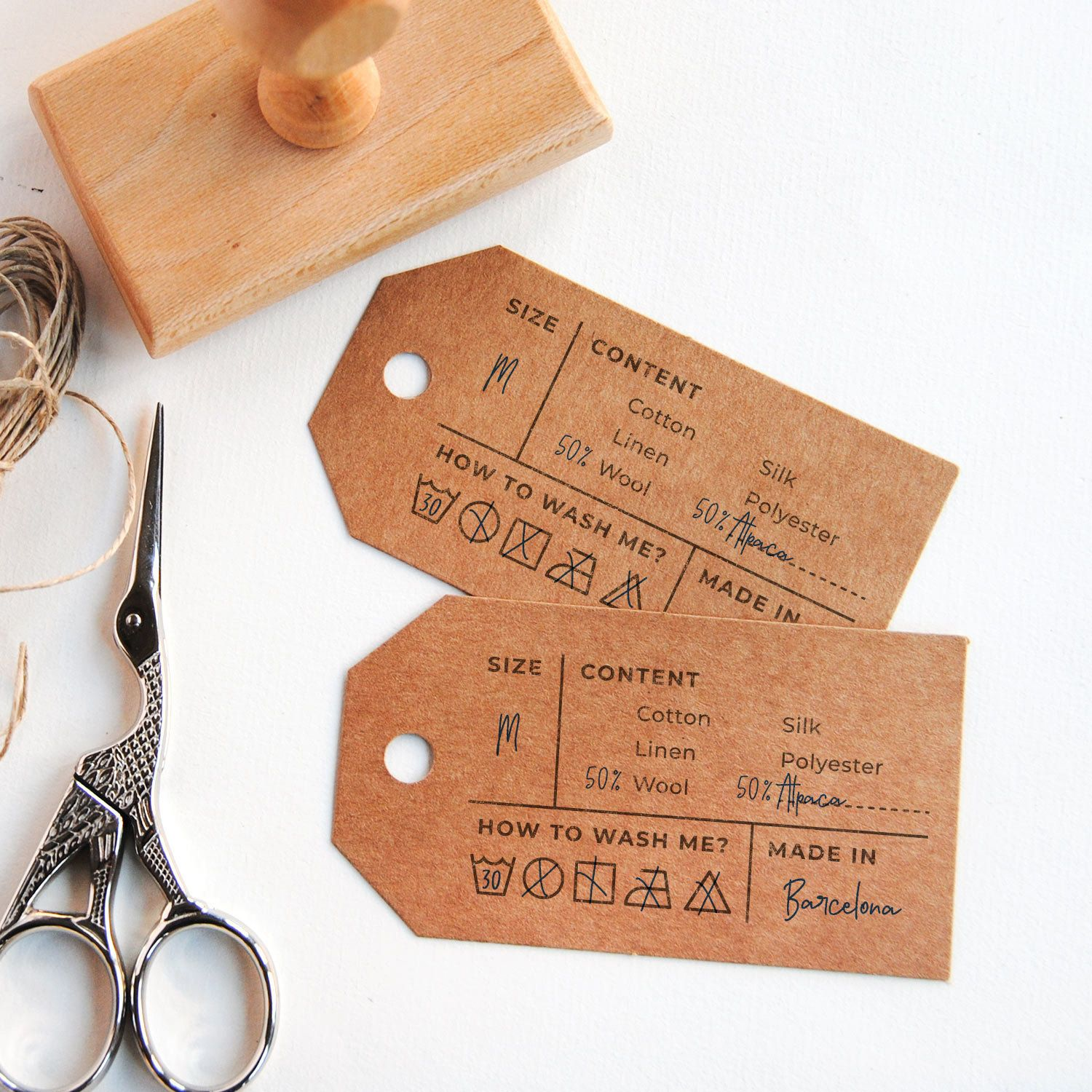 Stamp For Garment Tags With Fiber Content And Care Instructions Size Clothing Label Stamp Fabric Composition And Size Stamp For Diy Labels Diy Labels Business Stamps Clothing Labels Design