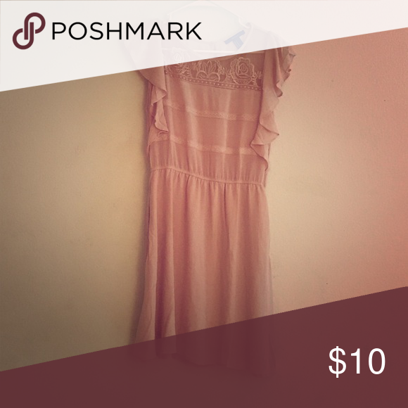 Pink lace dresses This dress is so cute! Never worn was for a family picture that I never went to. Not really my style bought it more because the color and because the top had lace. It's  stretchy and it has pockets Forever 21 Dresses Midi