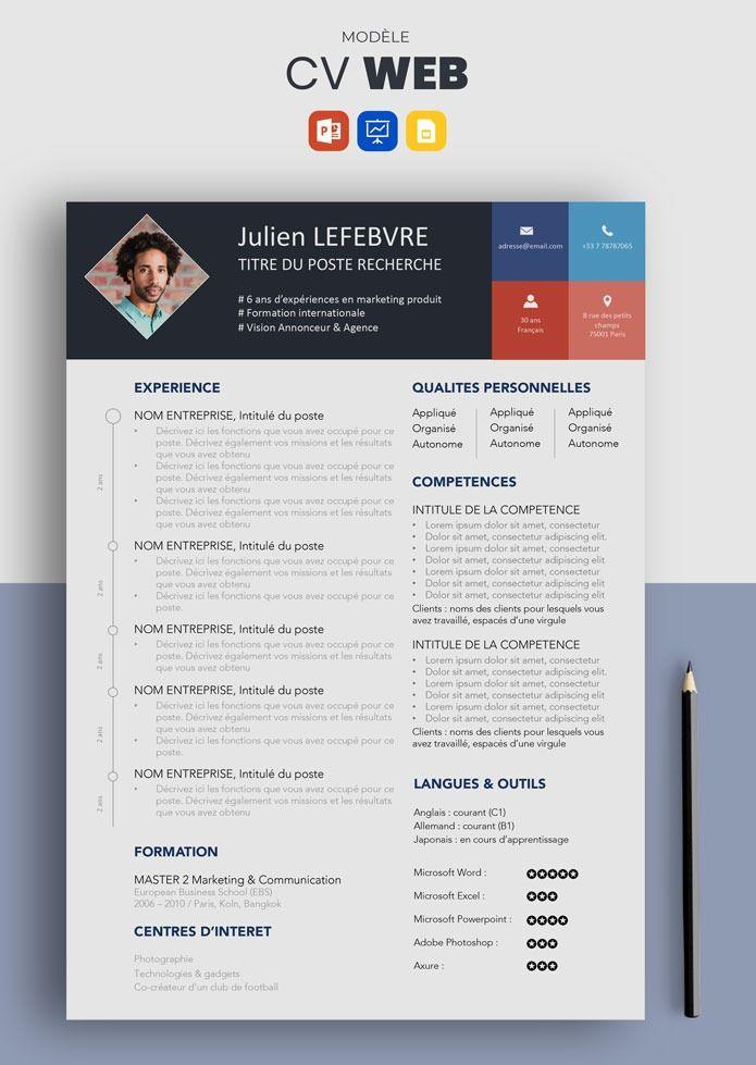 CV web - Modèle de cv design à télécharger | Modèle cv, Cv ...