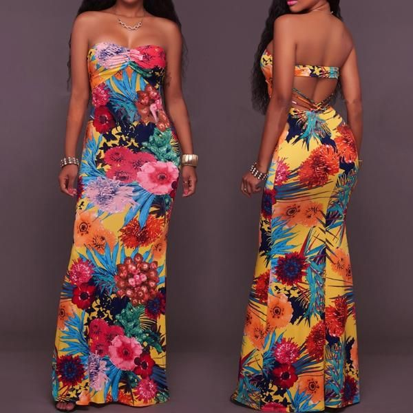 Long Strapless Open Back Maxi Dresses
