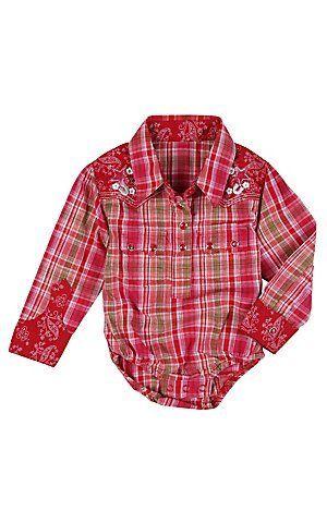 1bddb2e54 Wrangler All Around Baby Girls Pink, Red & Green Plaid Long Sleeve Western  Onesie