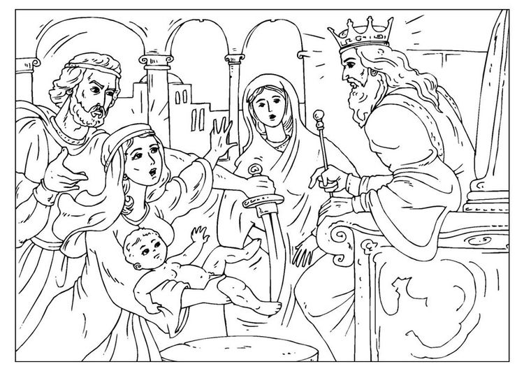 Coloring Page Judgement Of Solomon Img 25963 Bible Coloring Pages Bible Art Journaling Coloring Pages
