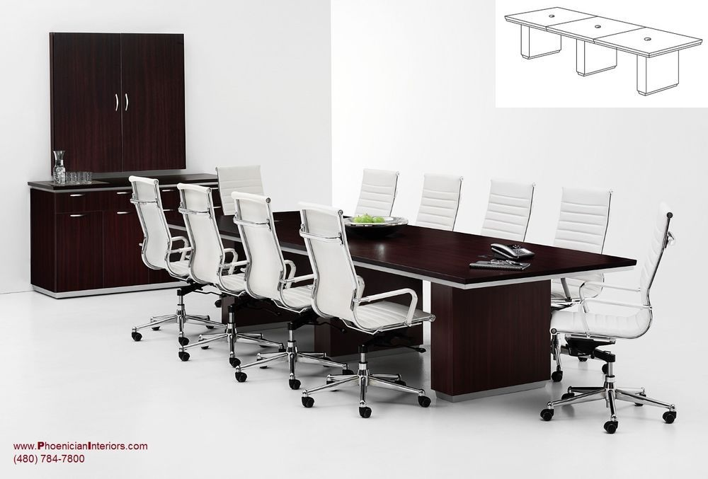 Conference Room Set 14 Foot Expandable Conference Table And 12 High Back Chairs Compact Table And Chairs Furniture Table And Chair Sets