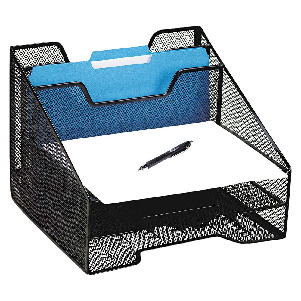 Rolodex Mesh Combination Sorter With Five Sections Black