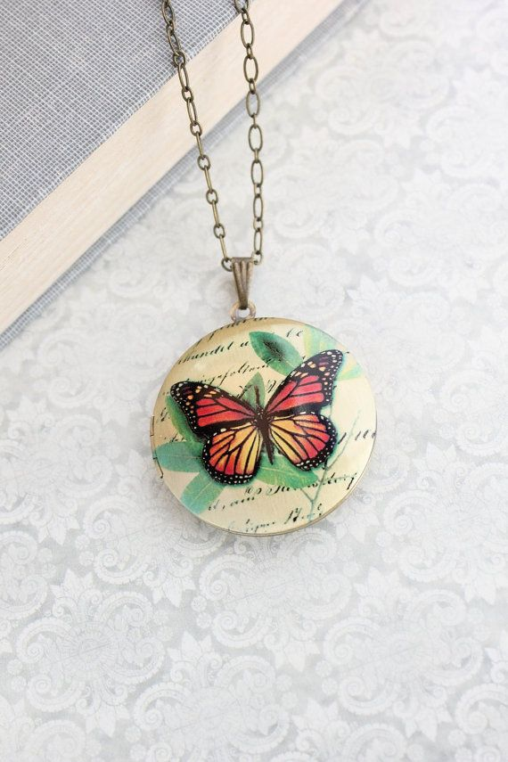 Rust Red Butterfly Locket Necklace Vintage Script Pendant