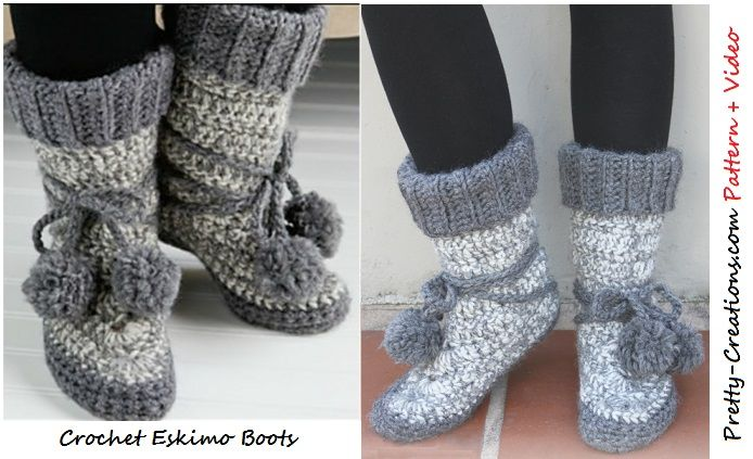 Crochet Eskimo Boots – Pattern | Artes manuales en telas tejidos ...