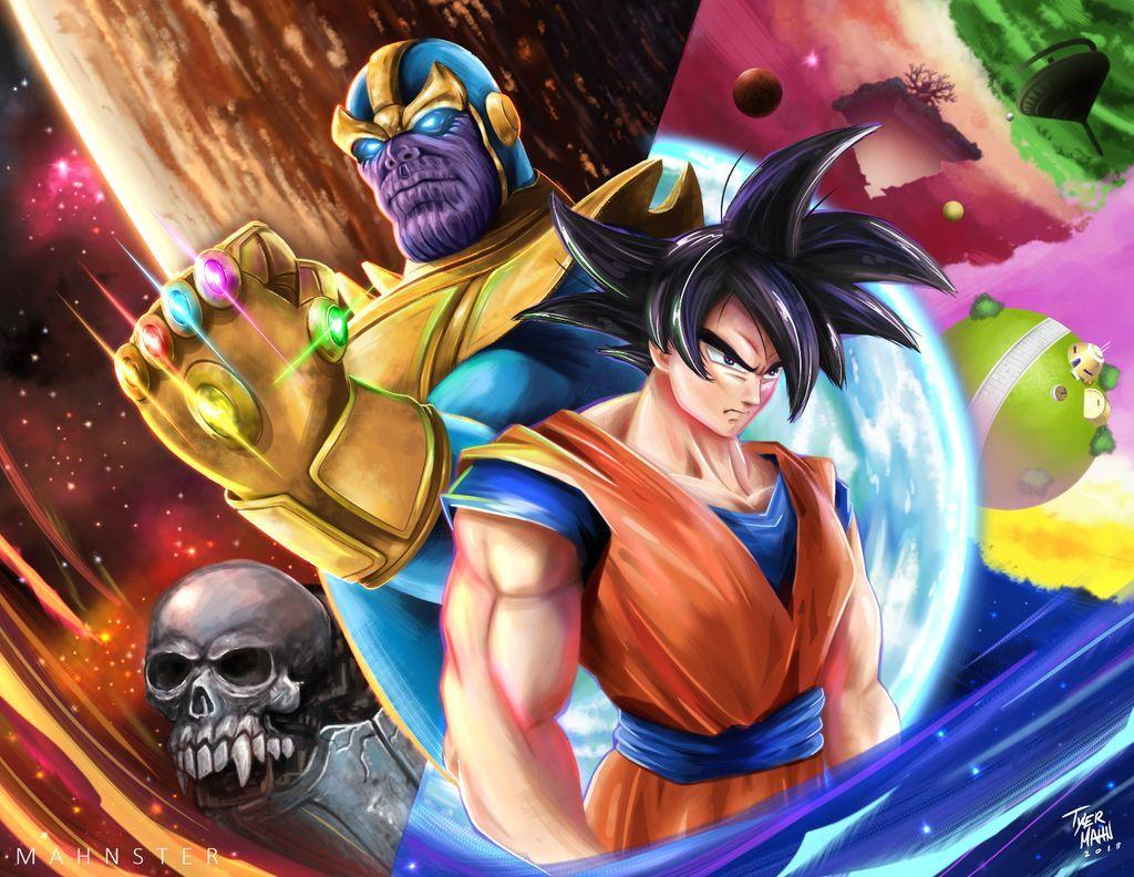 Goku Vs Thanos By Mahnsterart On Deviantart Dragon Dragon Ball