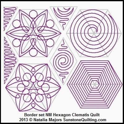 Digital Quilting Design Block Set Hexagon Clematis Quilt by ... : digital quilting - Adamdwight.com