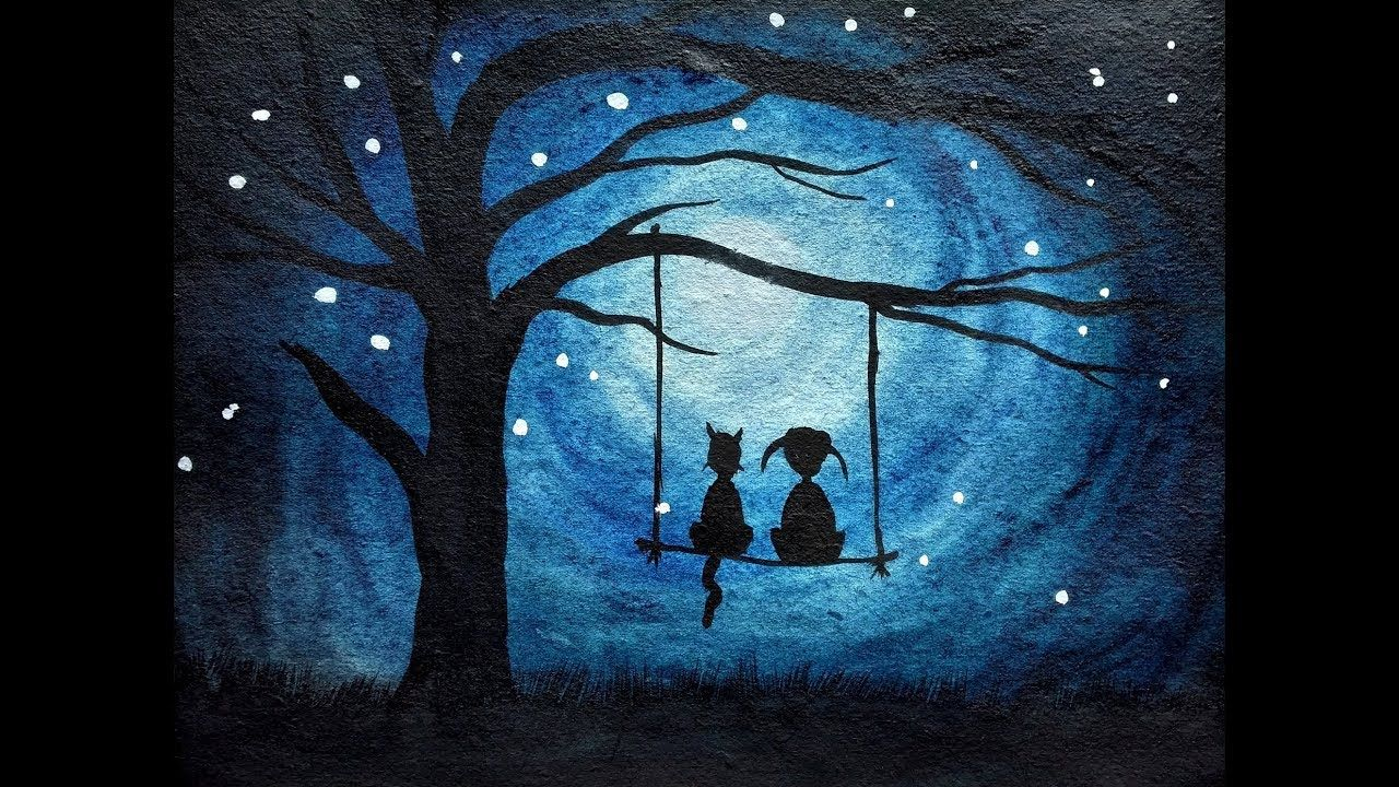 How To Draw Moonlight Scenery For Kids Simple Watercolor Painting