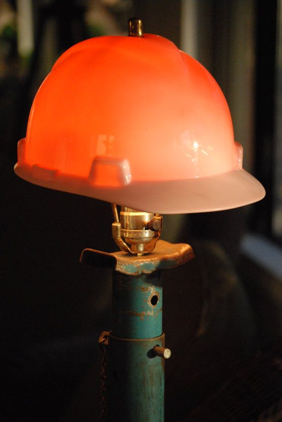 Vintage Jack Stand Table Lamp With Hard Hat By Catkinscreations 19 95 Led Light Design Lamp Homemade Lighting