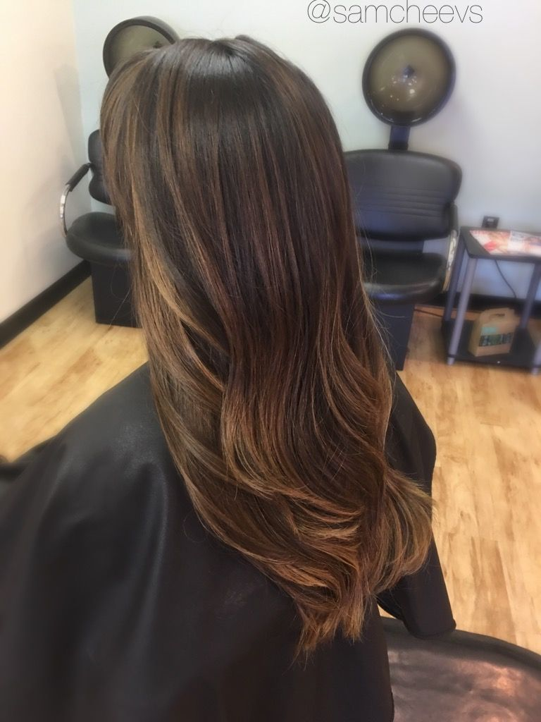Subtle light brown caramel coffee balayage highlights to ...
