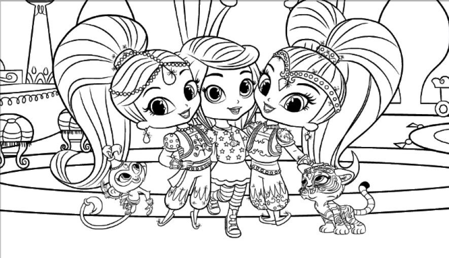 Leah Shimmer Shine Mermaid Coloring Pages Shimmer N Shine