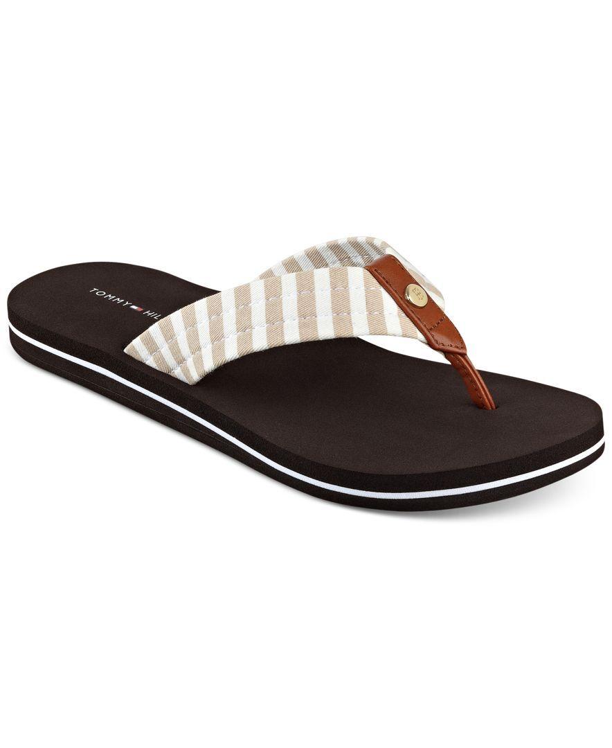 Tommy Hilfiger Cicin Stripes Flip Flop Sandals Sandals Shoes Macy S Striped Flip Flops Flip Flop Shoes Tommy Shoes