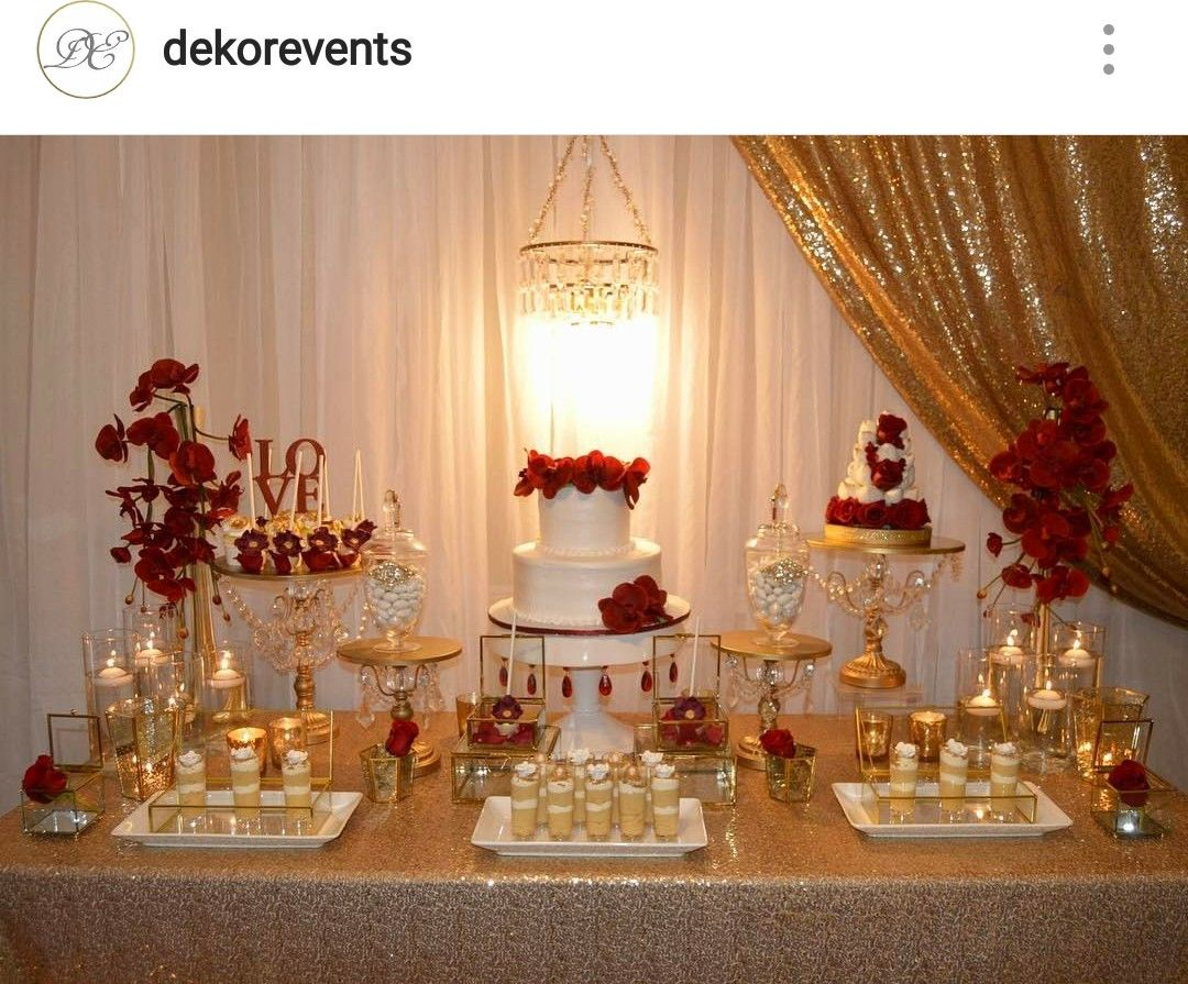 Gold White And Red Engagement Party Dessert Table Decor