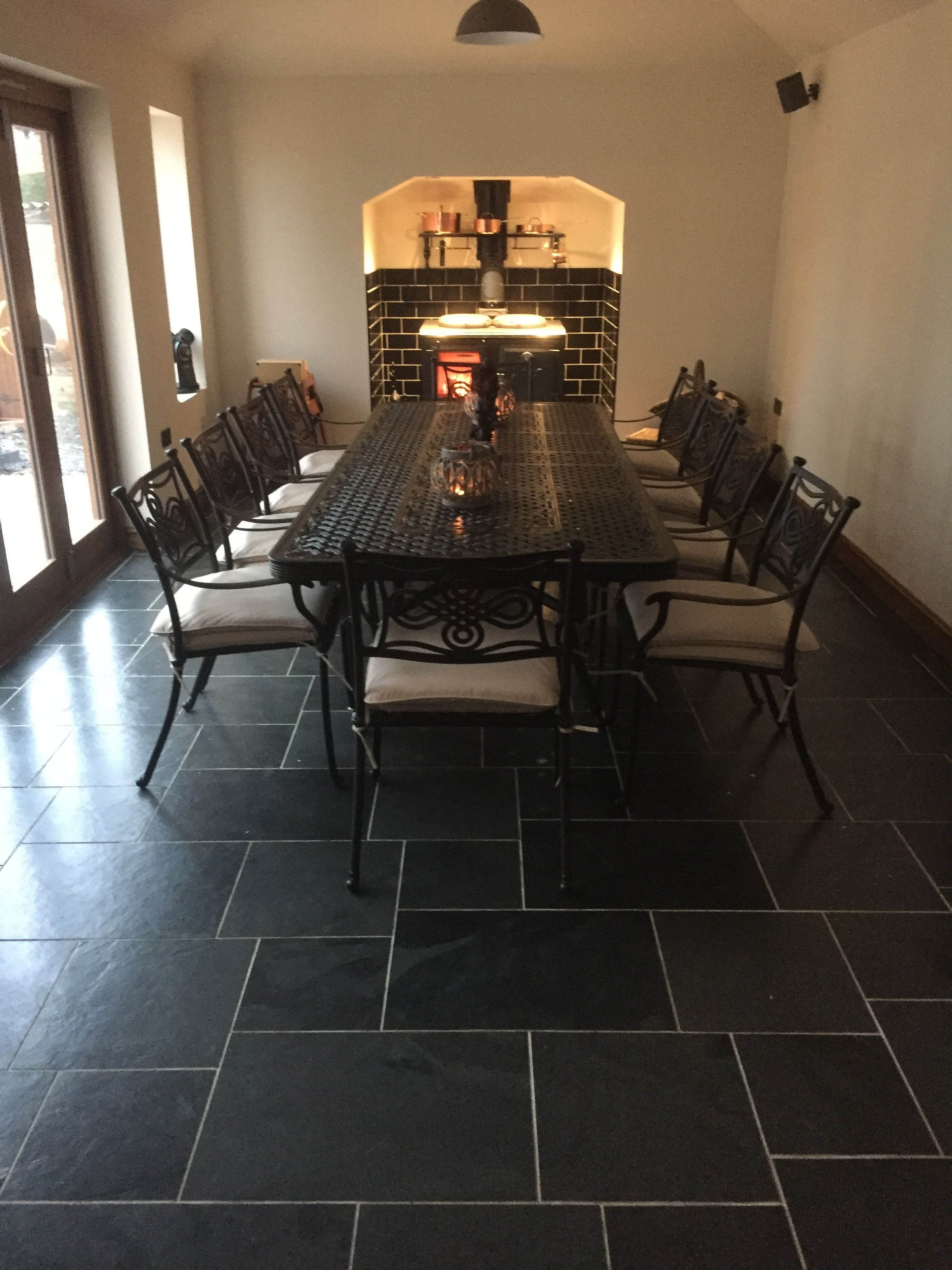 Brazilian Black Slate Laid In An Opus Pattern In A Grand Dining Room
