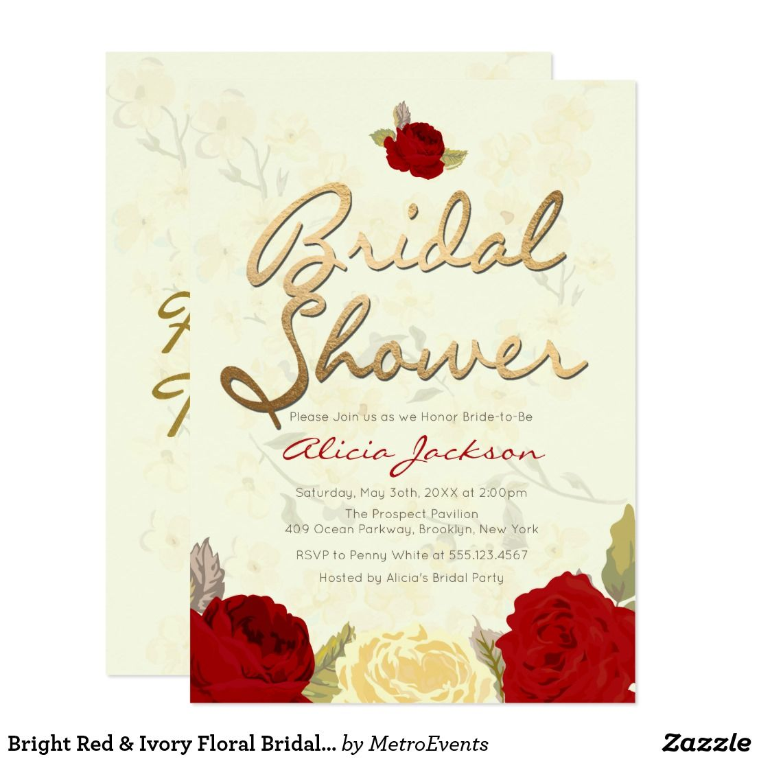 Bright Red Ivory Floral Bridal Shower Invitation Shower
