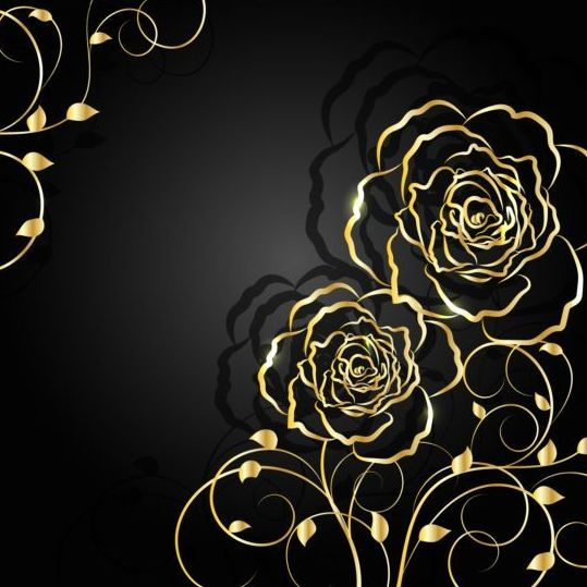 Golden Flower With Black Background Vector 01 Art Background Golden Flower Black Backgrounds Contemporary gold flower wallpaper images