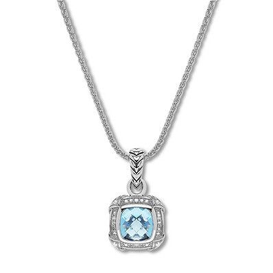 Blue Topaz Necklace 1/5 ct tw Diamonds Sterling Silver