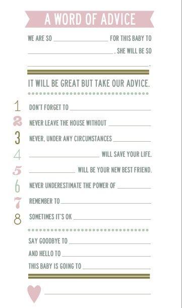 Baby Shower Advice Cards : shower, advice, cards, Shower, Advice, Cards, Thatpairofcrutches, Cards,, Advice,