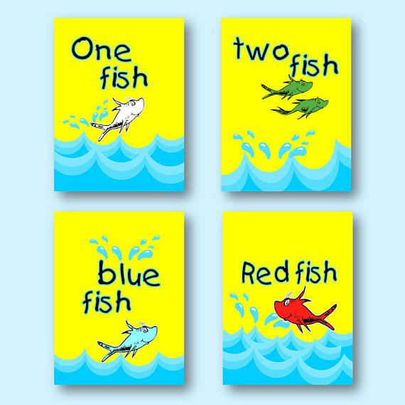 Dr. Seuss One Fish Two Fish Bathroom Red Fish Blue Fish 8\