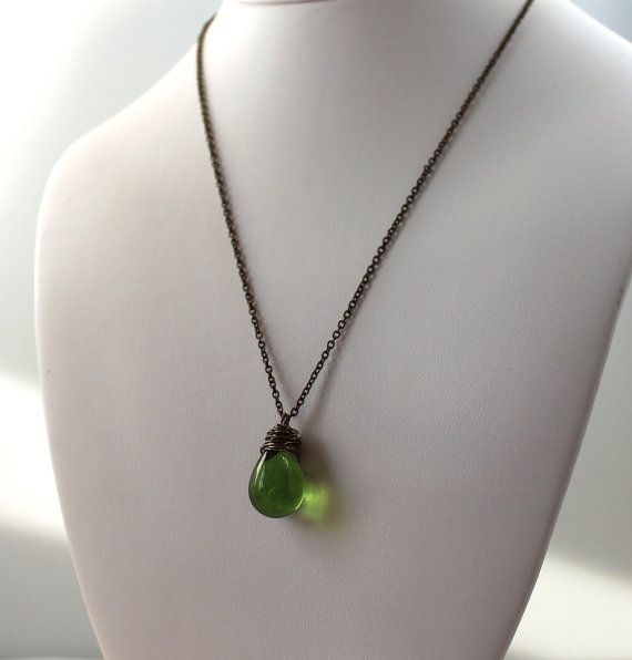 Czech Glass Necklace Green Teardrop Wire Wrapped by michabella, $20.00