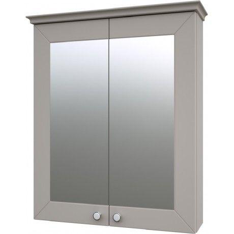 Albero Design Latina Spiegelschrank, beige matt - 64 x 72cm - spiegelschrank f rs badezimmer