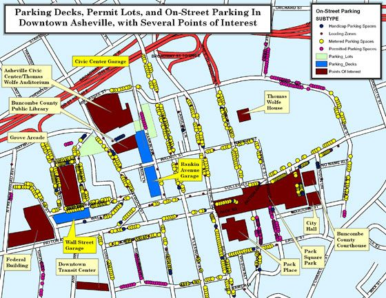 Parking Map of Downtown Asheville | FUN TO DO | Downtown asheville on