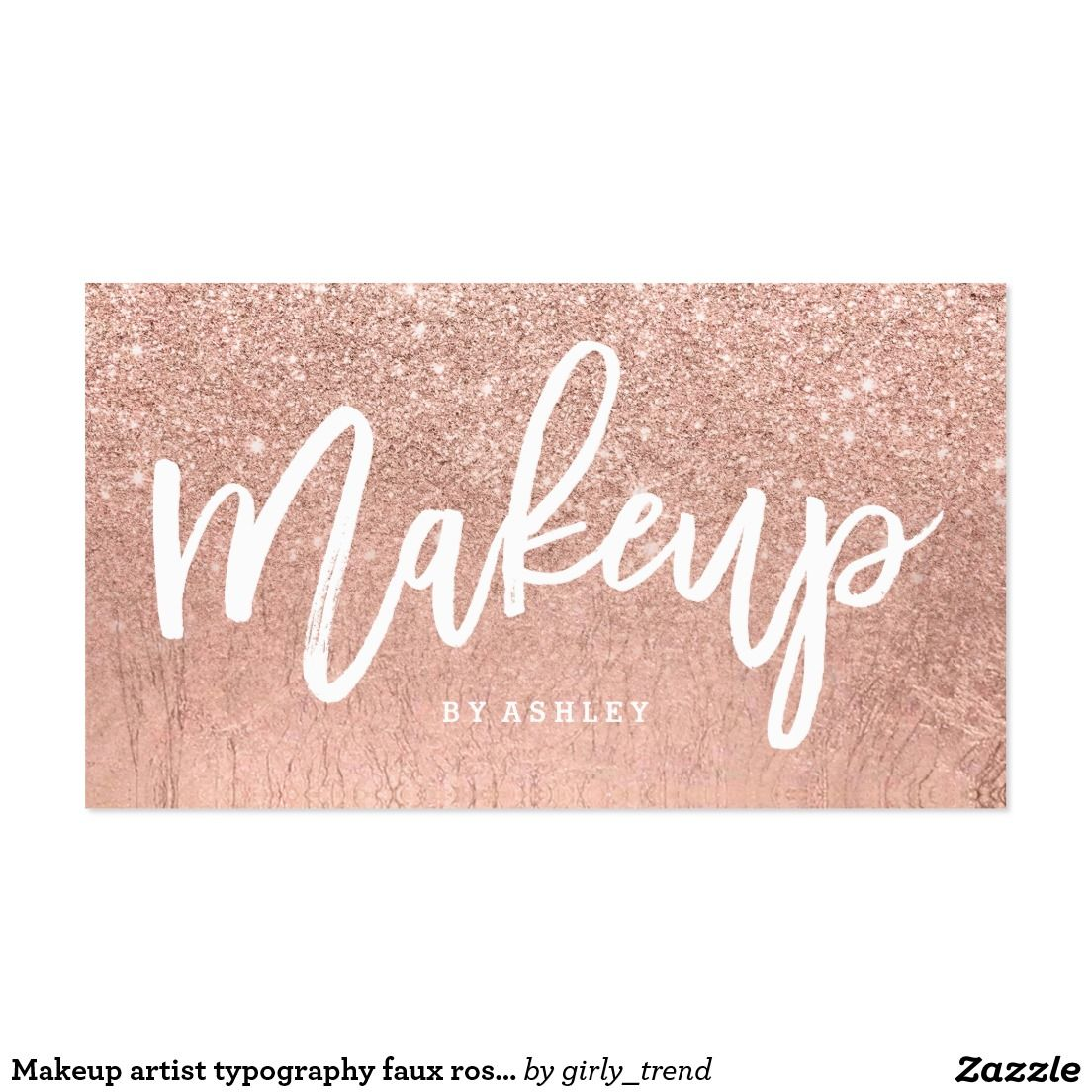 Makeup artist typography faux rose gold glitter business card makeup artist typography faux rose gold glitter business card colourmoves
