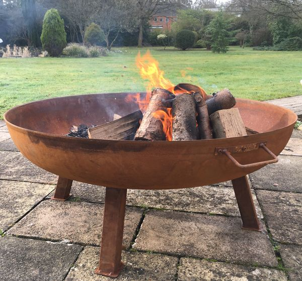 75cm Carbon Steel Rust Finish Fire Bowl By La Fiesta