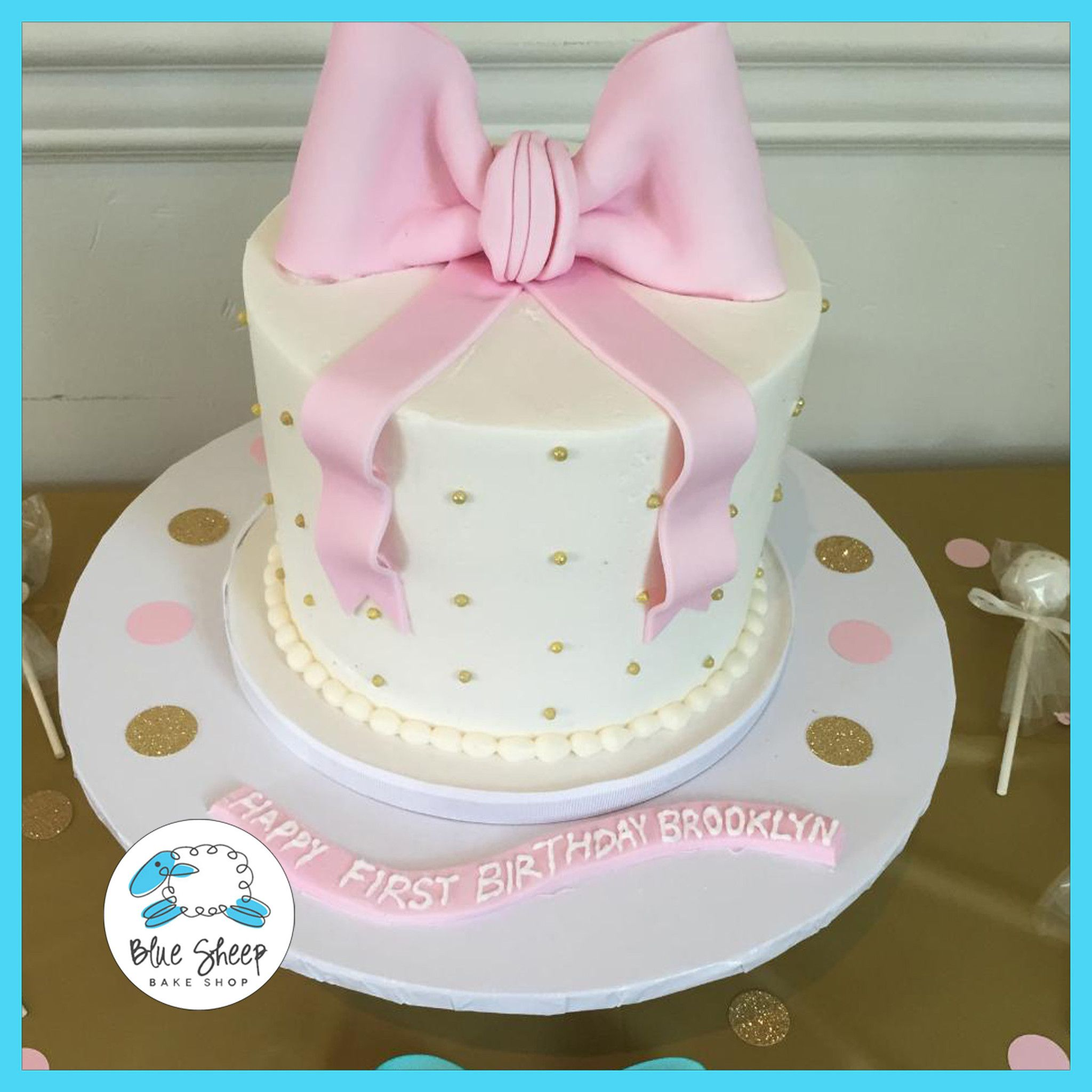 Enjoyable Brooklyns Pink And Gold Buttercream 1St Birthday Cake 1St Personalised Birthday Cards Veneteletsinfo