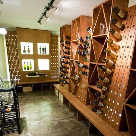 custom wine cellar with LED back lit acrylic display boxes Cavas