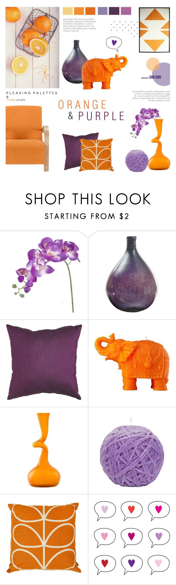 """#3 - Orange & Purple"" by c-silla ❤ liked on Polyvore featuring interior, interiors, interior design, home, home decor, interior decorating, Dot & Bo, Pier 1 Imports, Mario Luca Giusti and Normann Copenhagen"