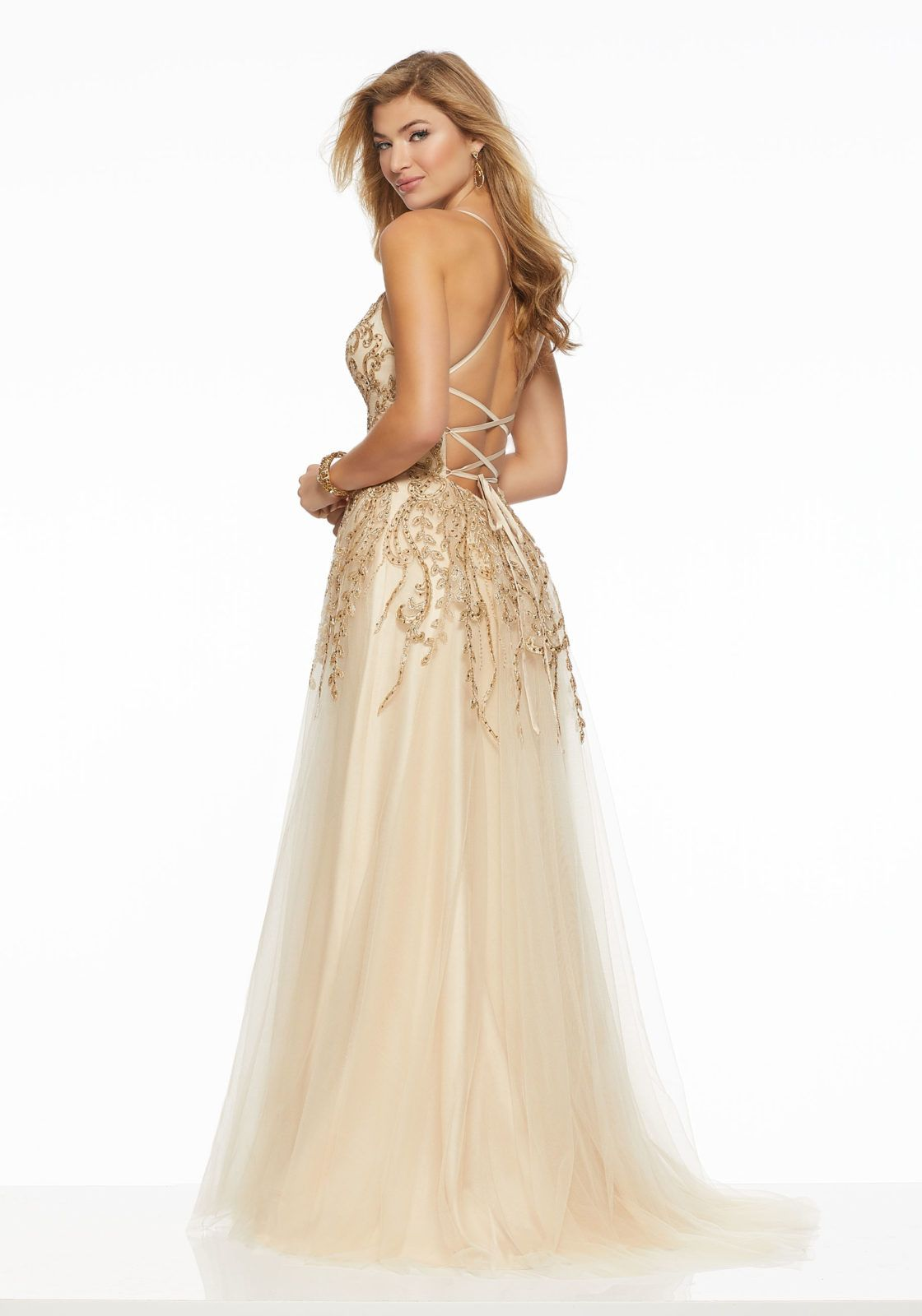 Embroidered Appliqués on Soft Tulle Wedding Dress   Morilee