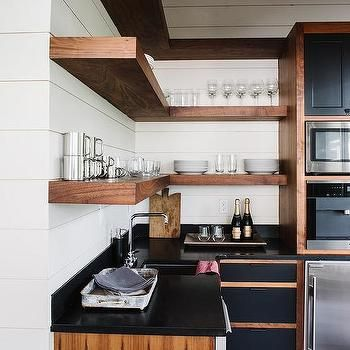 L Shaped Kitchen Pantry with L Shaped Floating Wood Shelves | Arqui ...