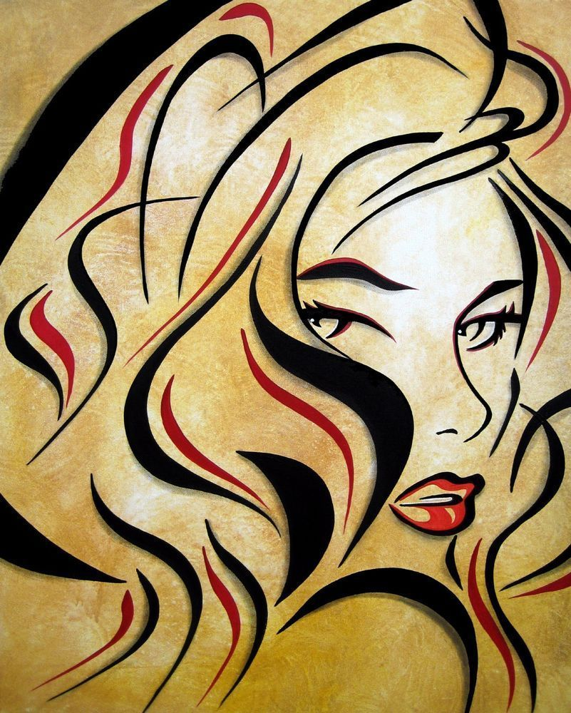 Abstract painting LOVE pop Modern Faces Original Canvas Wall Art by ...