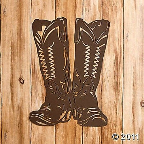 Cowboy Boots Silhouette Metal Laser Cut Western Wall Decor New